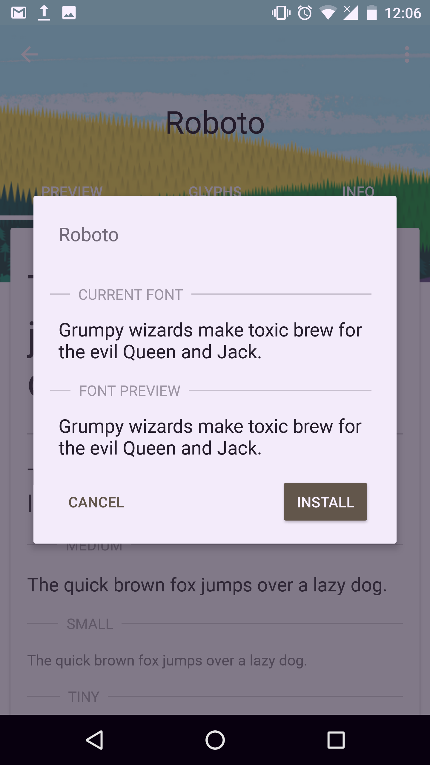 Install default font android