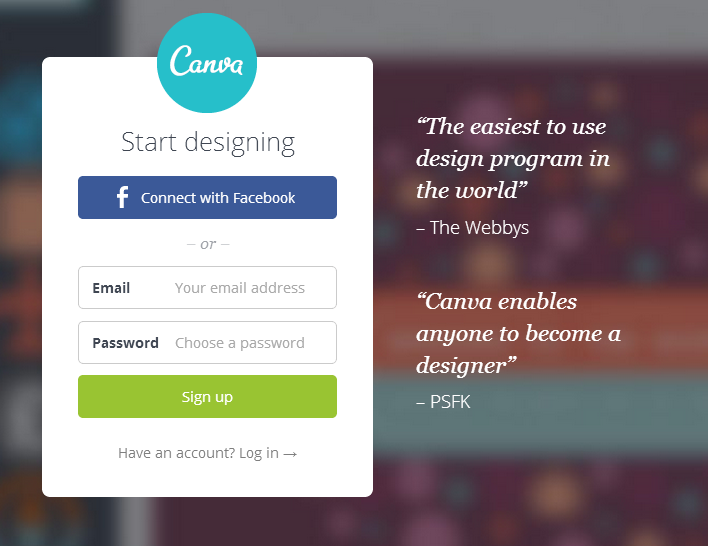 canva login screen
