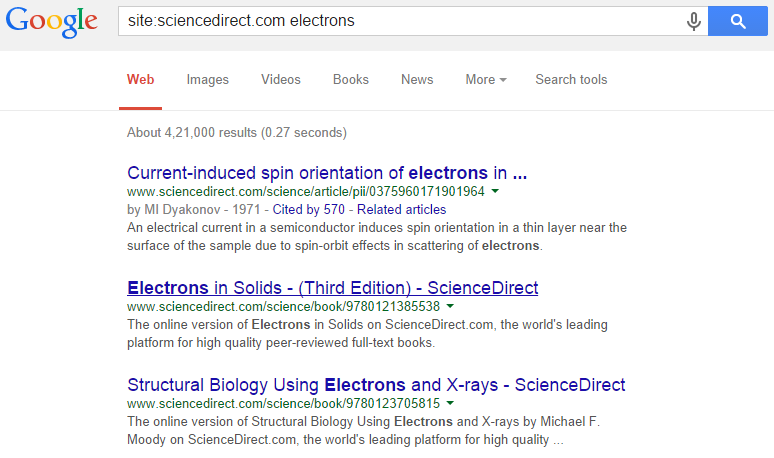 search results specific website