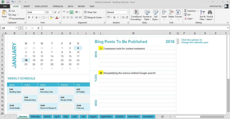editorial calendar budding geek
