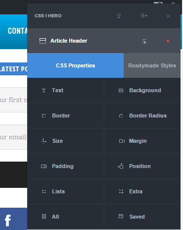 css hero in action