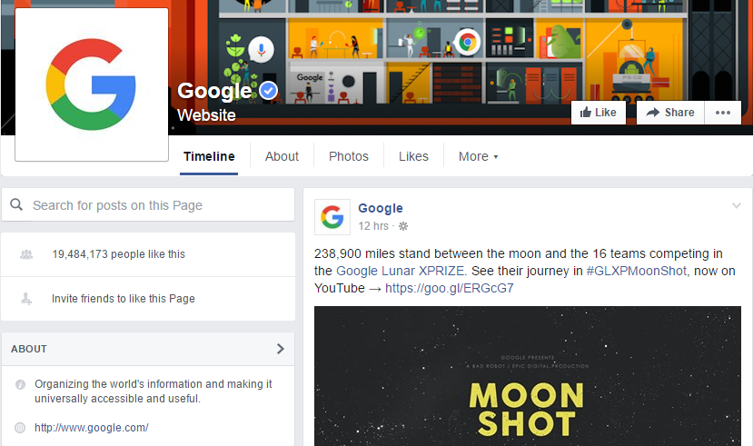 google's facebook page