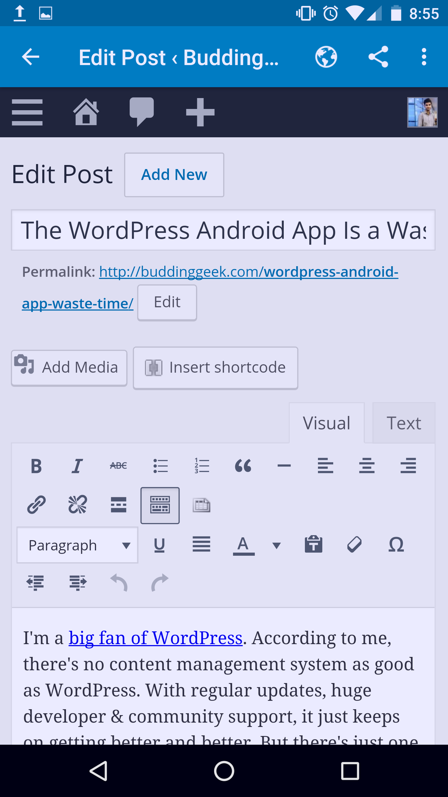 WordPress app with web layout