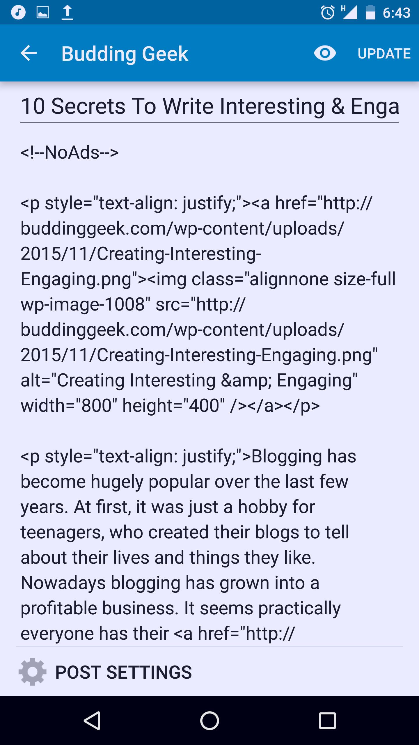WordPress app - post editing layout