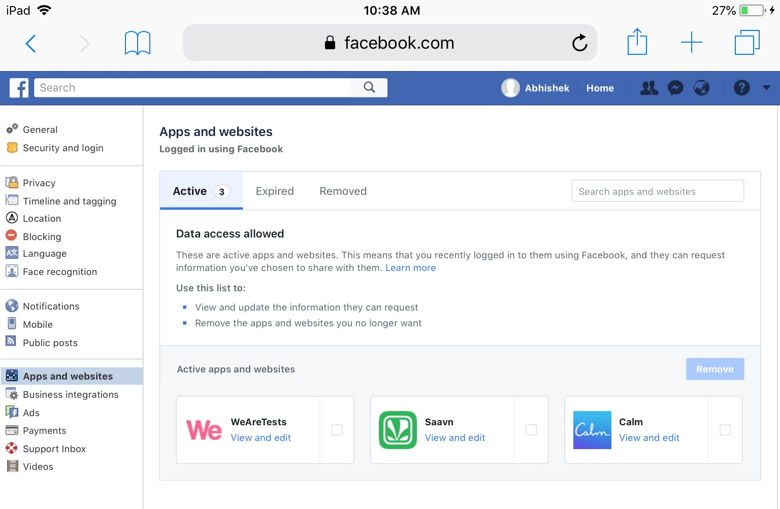 Privacy Review - Facebook Apps and Websites